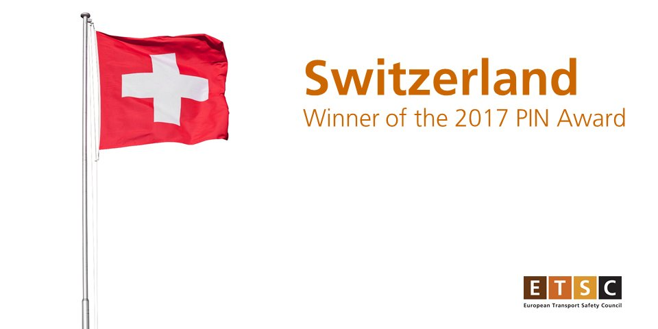 Congratulations to Switzerland, winners of the 2017 ETSC PIN Award for Road Safety. @SwissmissionEU https://t.co/eytjbhUaDy #PIN2017 https://t.co/r5i9TAQ1LD