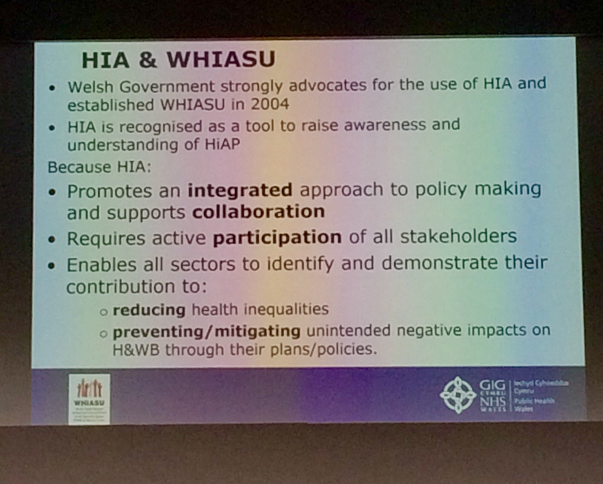 PH Wales: How Health Impact Assessment (HIA) equips the public health workforce to collaborate in addressing health inequalities #FPHconf https://t.co/Kt9Nz6LTof