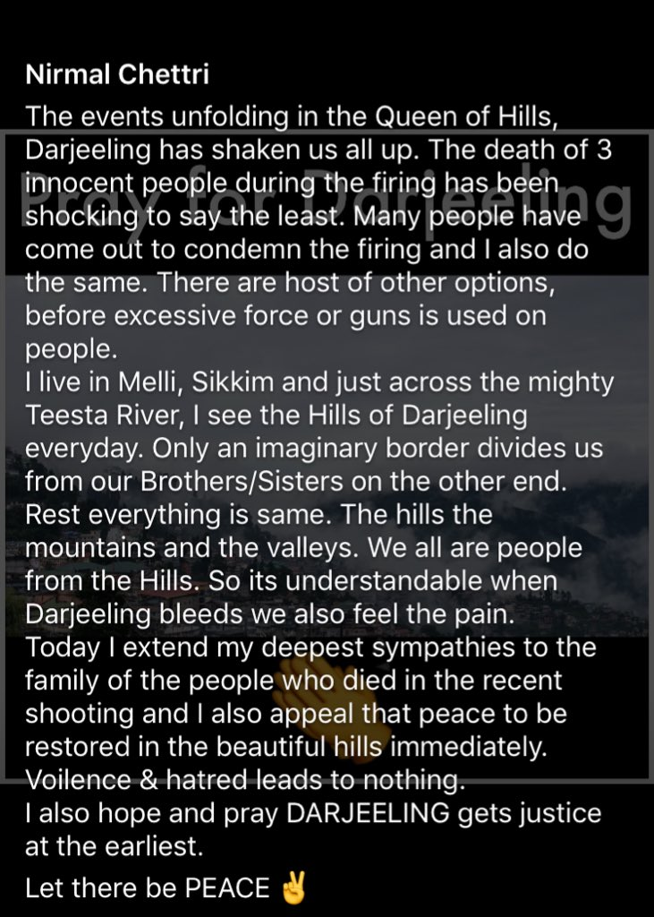 Let there be PEACE ✌️ #PrayForDarjeeling 👏