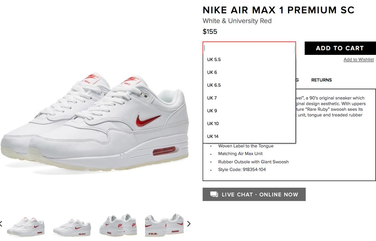 reputable site de360 8ca87 LIVE via Endclothing Nike Air Max 1 Premium SC Jewel Rare  Ruby:http://bit.ly/2ryW3EZ Black Diamond:http://bit.ly/2tolniC  pic.twitter.com/4g8ocN5nvt