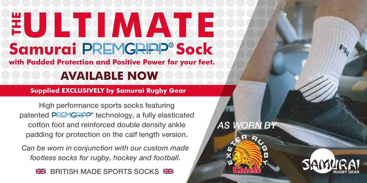test Twitter Media - Introducing the ultimate @premgripp sock, supplied exclusively by Samurai Rugby Gear! As worn by @ExeterChiefs >> https://t.co/wd8JxobP9L https://t.co/MKPQKO5OD2