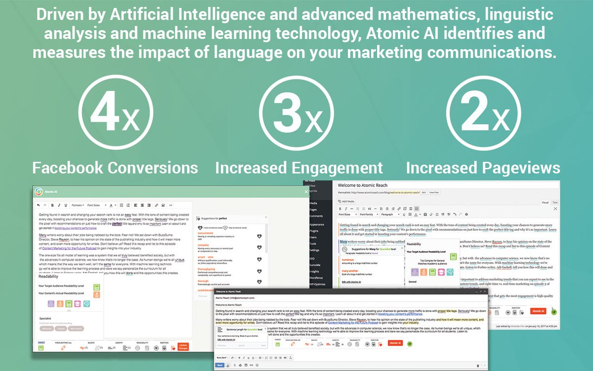 Atomic AI matches the #readability of your #content to your audience, producing measurable results   http:// bit.ly/2kkxwEm  &nbsp;   Learn more here!<br>http://pic.twitter.com/MNPehplfEX