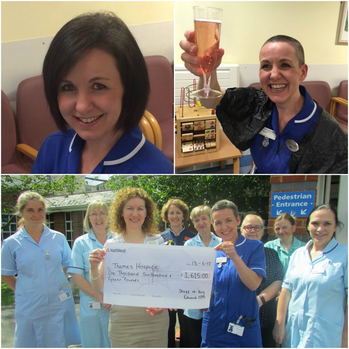 #Sister Gilly, from #King Edward VII #hospital, has #baldly gone &amp; shaved her luscious locks to #generate a hair-raising £1,615 for us! <br>http://pic.twitter.com/ZpDODsgqYZ