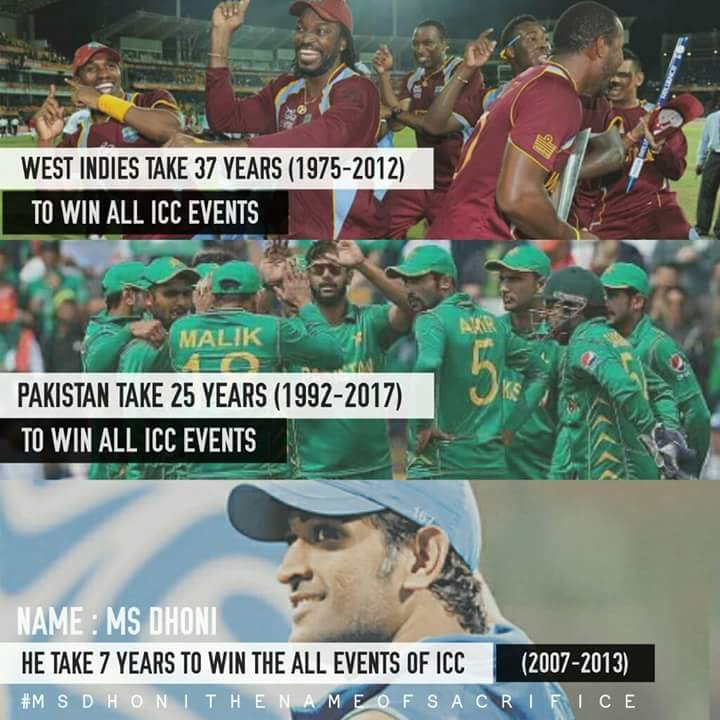 India should proud for @msdhoni , Only 4 teams won all icc events( ICC WORLD CUP+ ICCT20+ CHAMPIONS TROPHY. #Dhoni ko fir SE Captain banao. <br>http://pic.twitter.com/F7BYqPlggQ