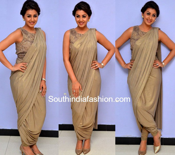 Nikki Galrani in a dhoti saree • South India Fashion