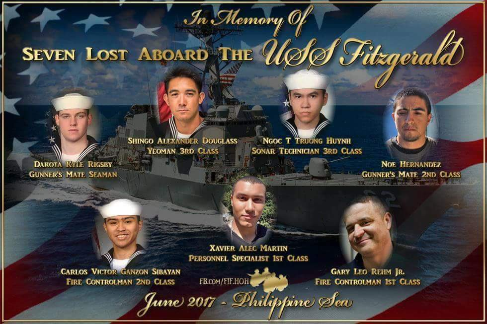 In memory of the 7 sailors whose lives were lost aboard the #USSFitzgerald. RIP Brothers! https://t.co/THgMvJFRgV