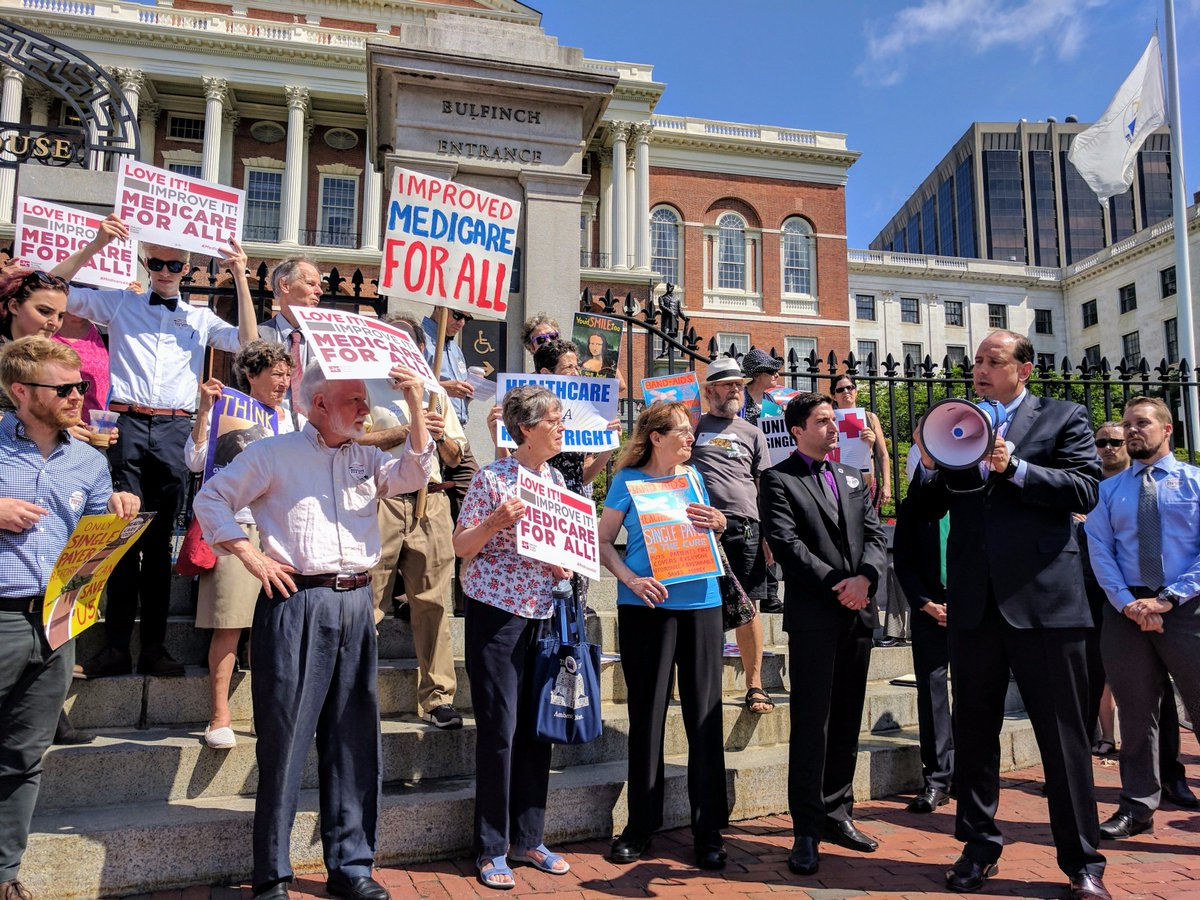 .@JamieEldridgeMA rallying #SinglePayer supporters prior to state house hearing on S.619 which would establish #Medicare4All in MA #mapoli<br>http://pic.twitter.com/jvnMngRLDj