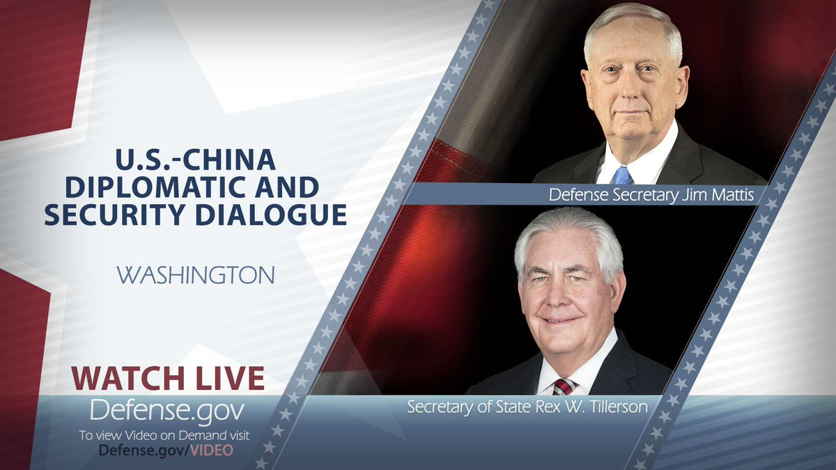 WATCH: #SecDef Mattis &amp; @StateDept Sec Tillerson host U.S.-China Diplomatic &amp; Security Dialogue @ 2:55 p.m. EDT on  http:// Defense.gov/live  &nbsp;  .<br>http://pic.twitter.com/VzyEmnRvD0