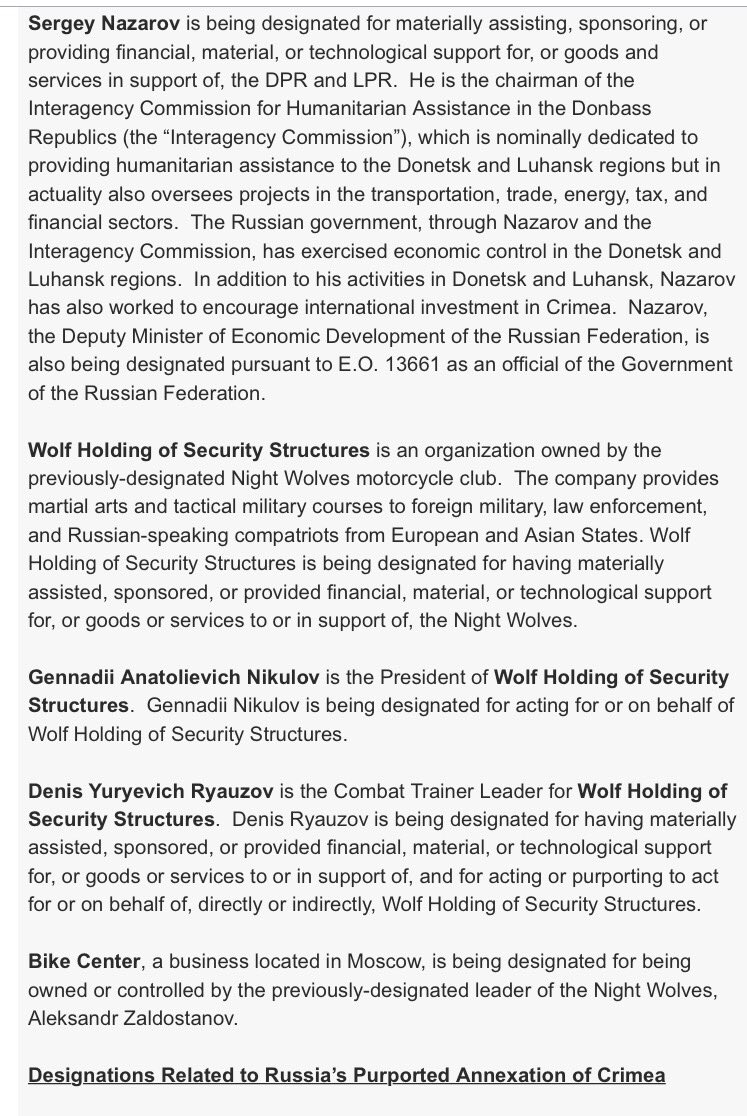 Additional U.S. Treasury Designations re: #Ukraine  https://www. treasury.gov/press-center/p ress-releases/Pages/sm0114.aspx &nbsp; …  v @rolltidebmz #Russia #Crimea <br>http://pic.twitter.com/C4bqFq7sl2