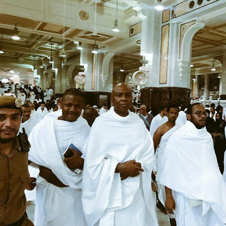 See Senate President Bukola Saraki and Aliko Dangote Performing Umrah at Holy Kaaba in Mecca, Saudi Arabia.