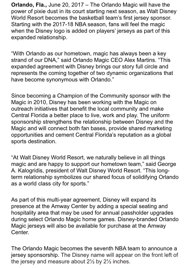 best service 46d06 0a398 Disney Sponsors Orlando Magic | Inside Universal Forums