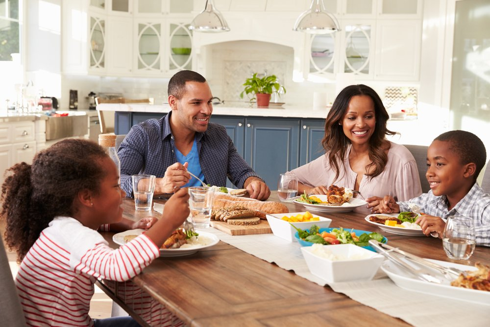 family dinners Resolve to have more family meals around the dinner table, enjoying fresh, home-cooked recipes.