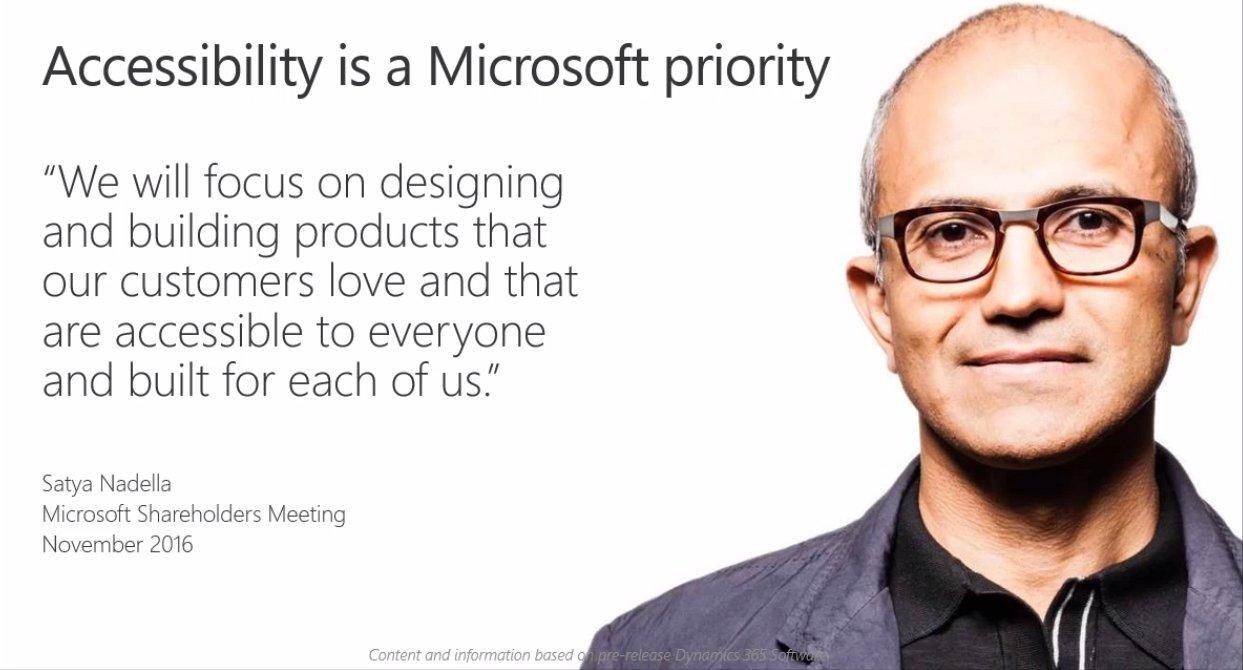 Accessibility is a Microsoft priority @satyanadella @MSDynamicsCRM  #msdyn365 https://t.co/kjXWaIm4et