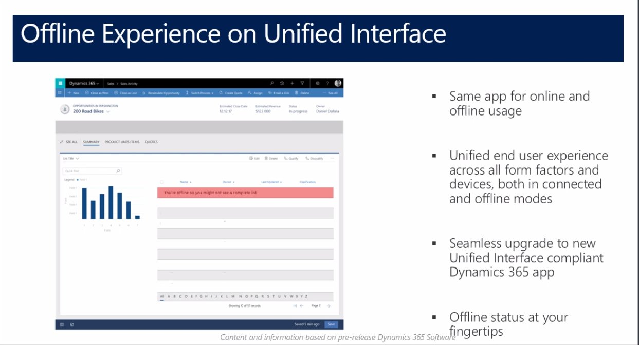 Offline Mobile Experience will also be via theunified interface! @MSDynamicsCRM #MSDyn365 https://t.co/lPGwU7boZI