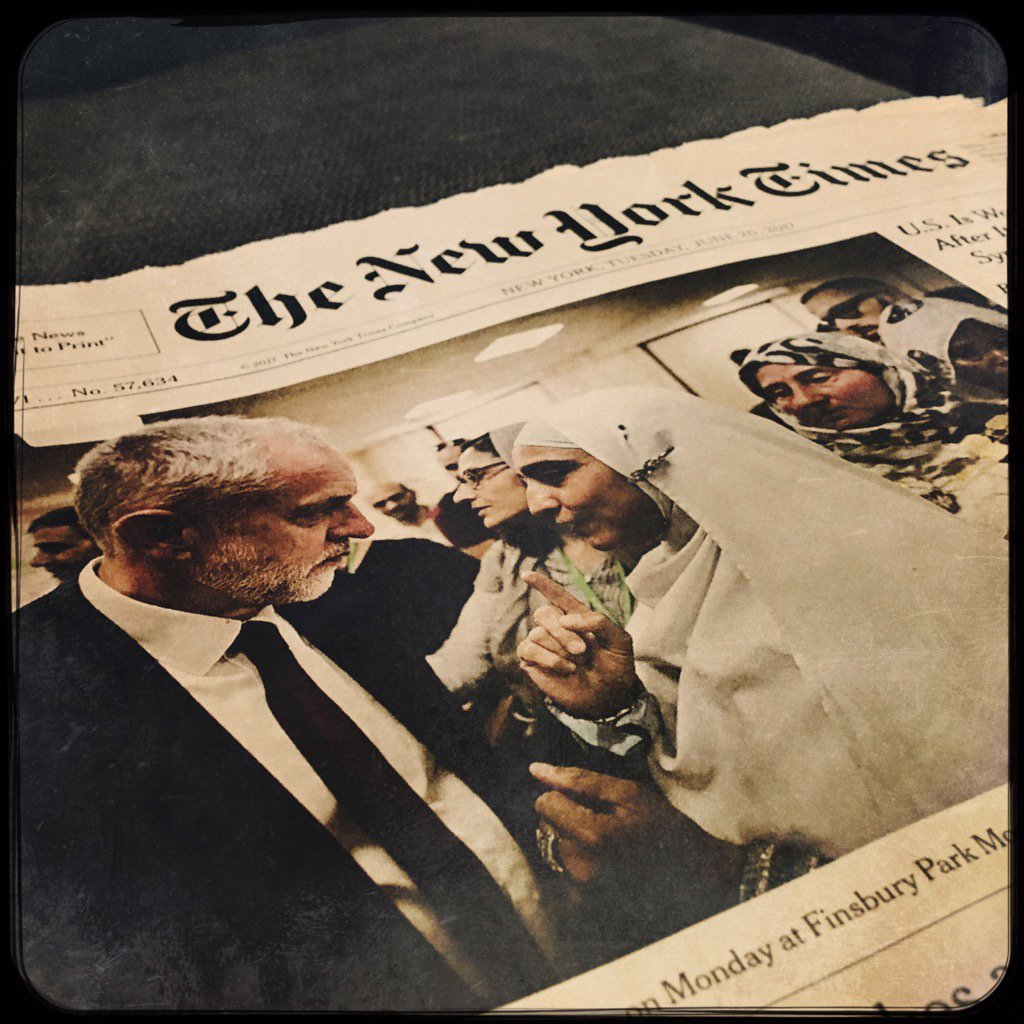 Corbyn front of the New York Times. Something that happened to neither leader during the election https://t.co/tqSs3sJjAN