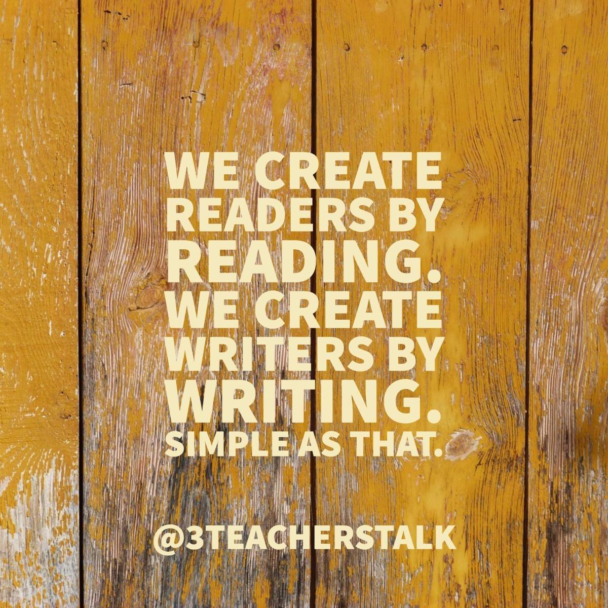 Every Teacher a Reader. Every Teacher a Writer. https://t.co/WdbRWCG7Ls via @3TeachersTalk https://t.co/AZ1qTe5ee6