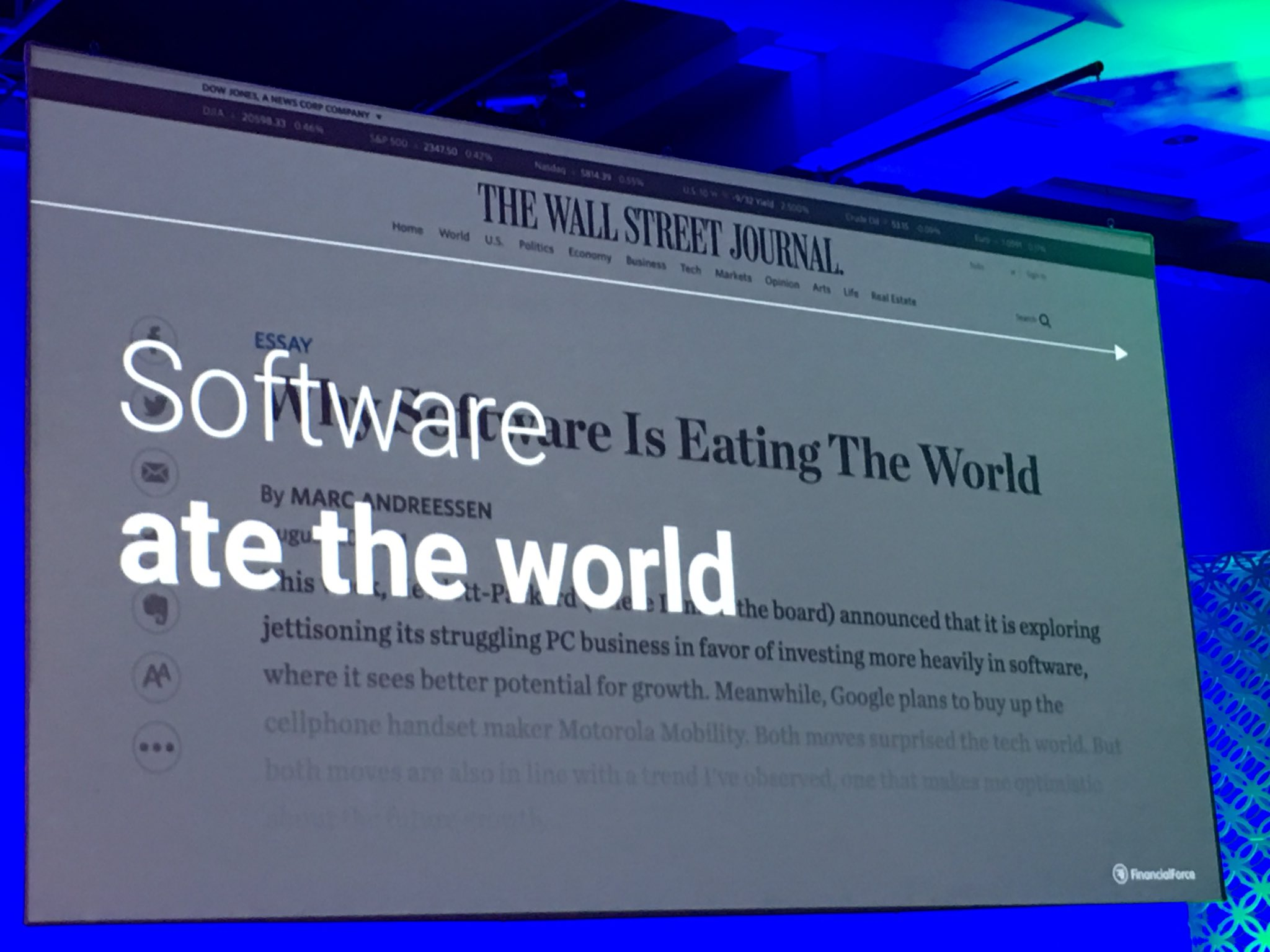 """MyPOV: @TodNielsen1 makes a fun point. @pmarca needs a follow up """"How Software Ate the World"""" #svlife #FFComm17 https://t.co/wjZZRkisYr"""
