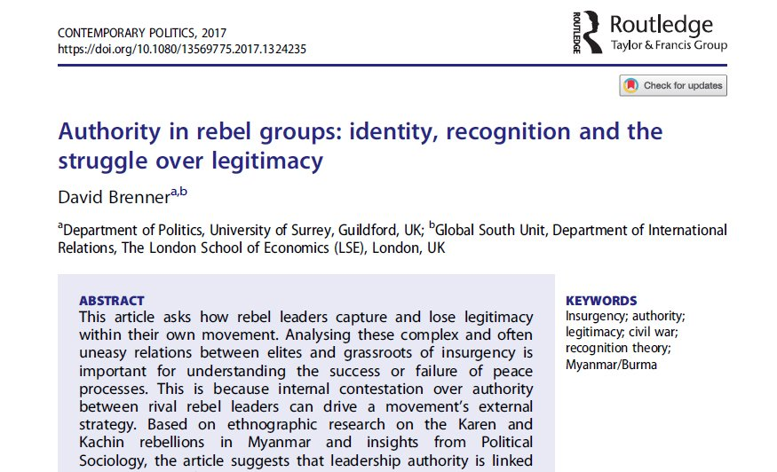 Open access to my article &quot;Authority in Rebel Groups&quot; based on ethnographic research on the KNU &amp; KIO in #Myanmar:  http:// tandfonline.com/doi/full/10.10 80/13569775.2017.1324235 &nbsp; … <br>http://pic.twitter.com/PoU72ZbHHo