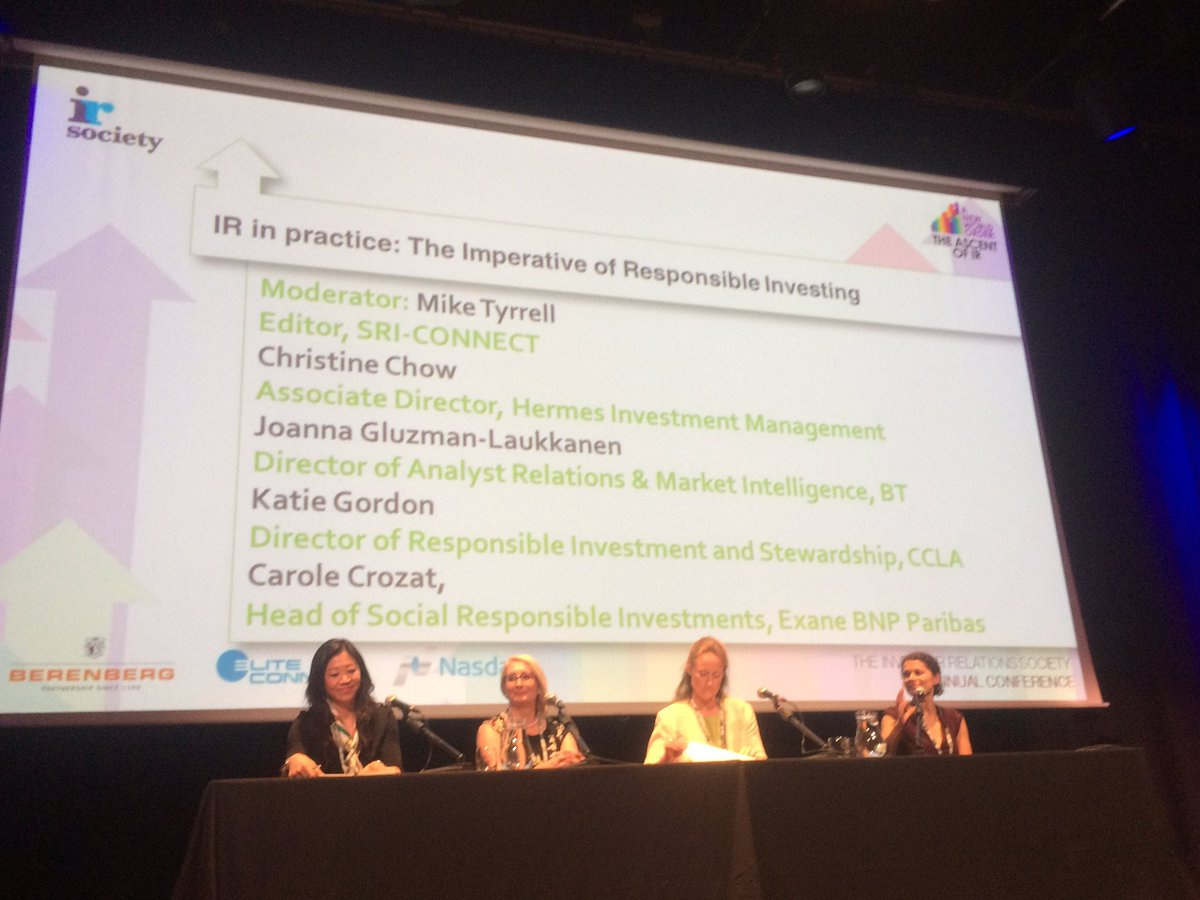 Outstanding panel on &quot;The Imperative of Responsible Investing&quot; at the @IRSocietyUK Annual Conference #IRConf2017 #responsibleinvesting #ESG<br>http://pic.twitter.com/wUsXLR7Cbb