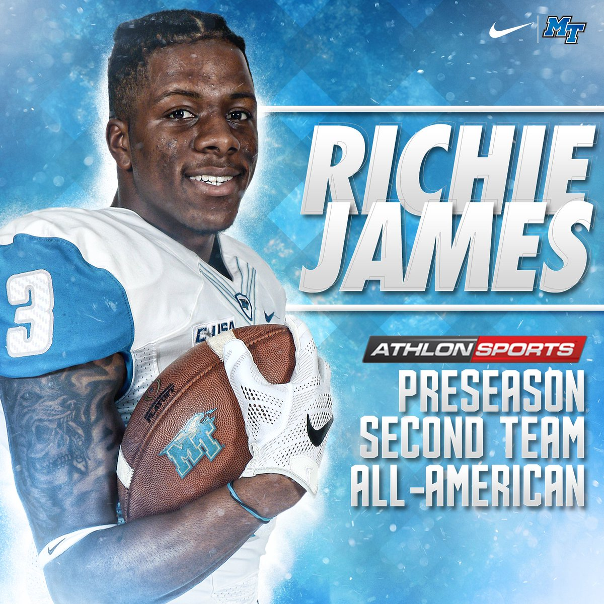 AthlonSports tabs @MT_FB's Richie James as a preseason second team All- American! Story: http://bit.ly/2rRnOIv #BlueRaiders #TrueBluepic.twitter.com/ ...