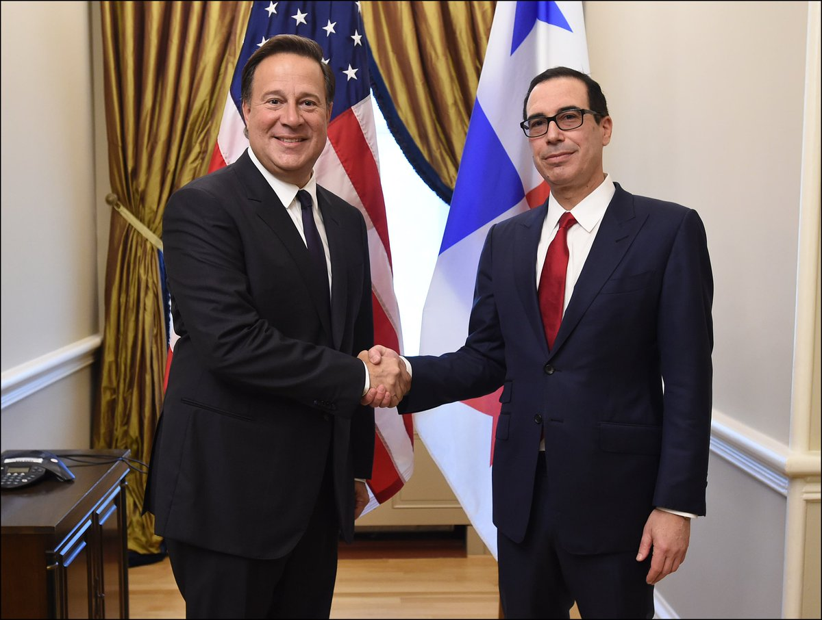 Readout from a Treasury Spokesperson of Secretary Mnuchin's Meeting with Panamanian President Juan Carlos Varela: https://t.co/YYWiBXSmRF