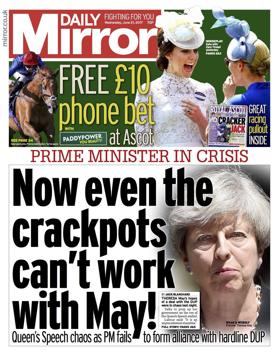 DAILY MIRROR FRONT PAGE: 'Now even the crackpots can't work with May!' #skypapers