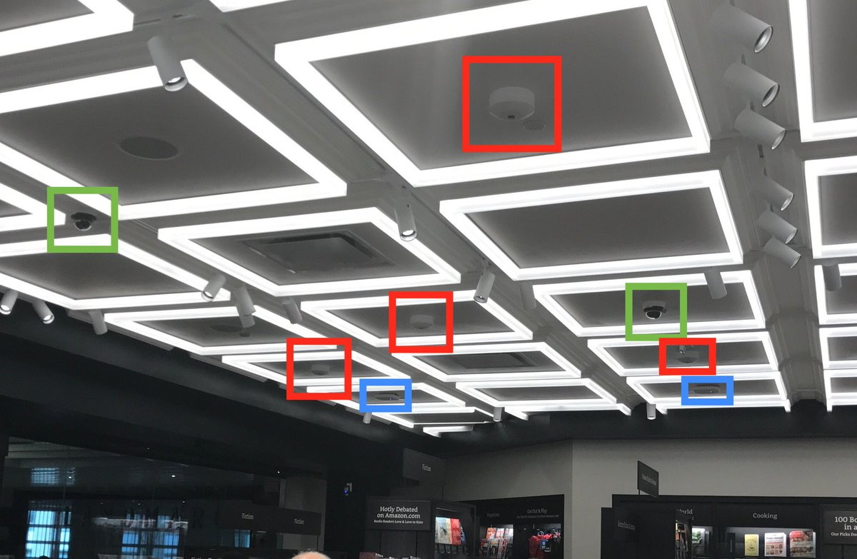 Amazon's NYC bookstore ceiling. Cameras and routers. My hunch: they're collecting data for Amazon Go. Also why the books are displayed flat.