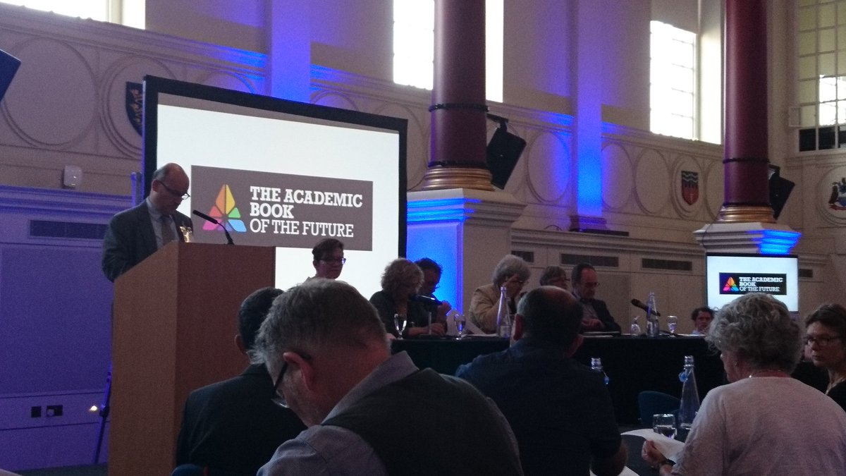 At the launch of the two #AcBookFuture reports with a panel of #scholcomm and #openaccess experts<br>http://pic.twitter.com/9yj0bR7Gpb