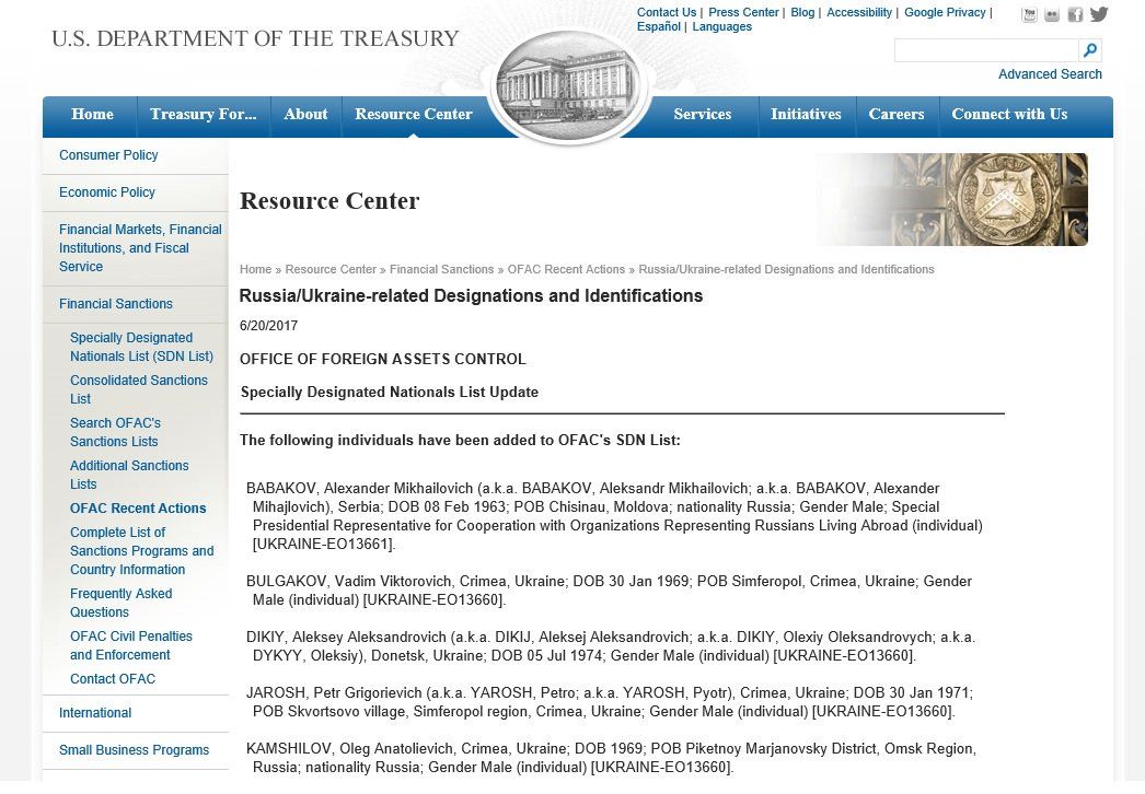 Re @poroshenko visit: New US sanctions re Russia&#39;s #Crimea annexation &amp; #Donbass occupation, inc #Donbas banks. Full  https://www. treasury.gov/resource-cente r/sanctions/OFAC-Enforcement/Pages/20170620.aspx &nbsp; … <br>http://pic.twitter.com/gIZPdQeefN
