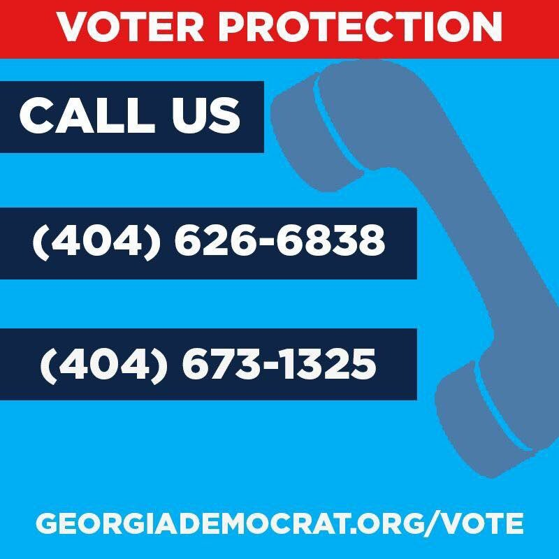 Please call these #s if you are turned away at a polling location. Please retweet! @ossoff #GA06 #flipthe6th @ACLUofGA #VoteYourOssoff<br>http://pic.twitter.com/zBv0d2Cv9S