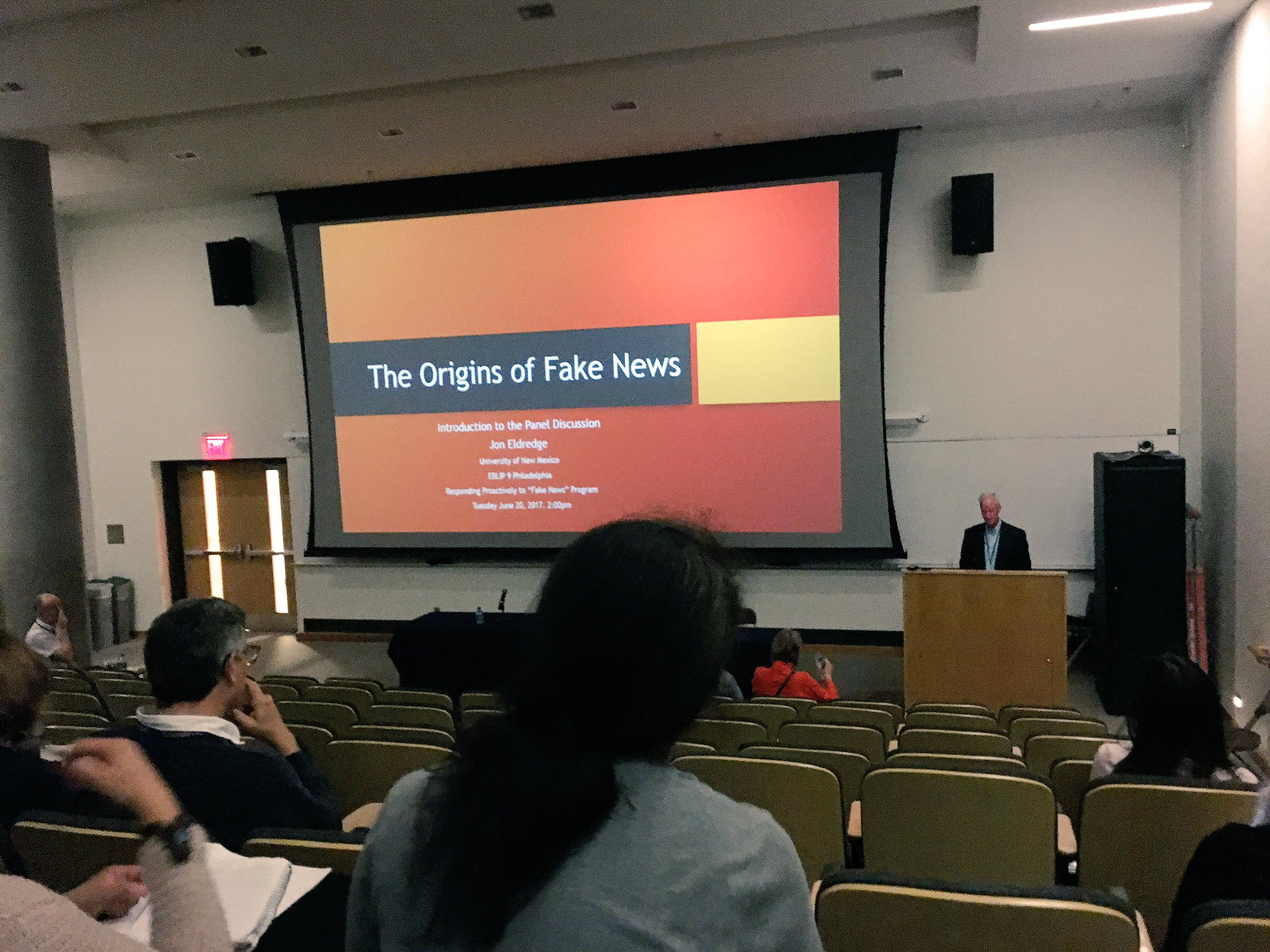 Jon Eldredge broaches the topic of Fake News at #EBLIP9 @eblip9 https://t.co/Qhr9P8XGNp