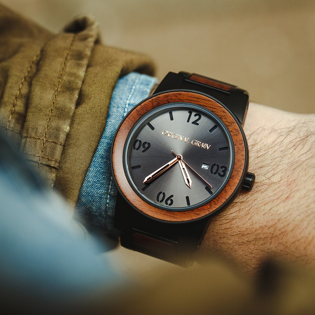 Hand-crafted Sapele wood with a standout sunburst dial. This is your Summer statement piece!