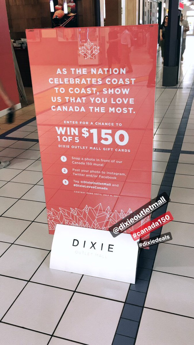 Enter to #win 1 of 5 $150 @DixieOutletMall gift cards! #DixieDeals #Canada150 #Toronto https://t.co/bqhngc0bZA