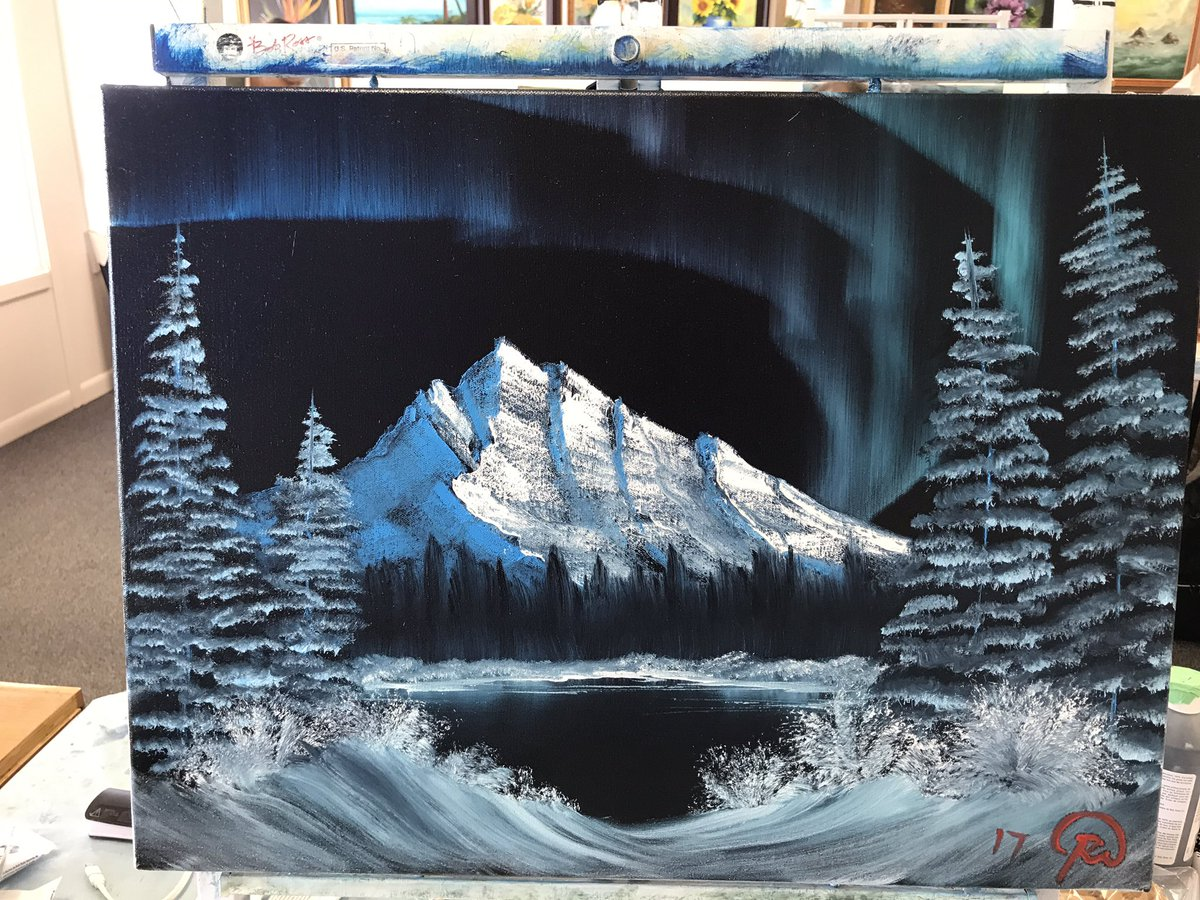 Second painting from today. #Auroraborealis #bobross @HappyLittleTr33 @2InchBrush<br>http://pic.twitter.com/1H3rY69Vgx