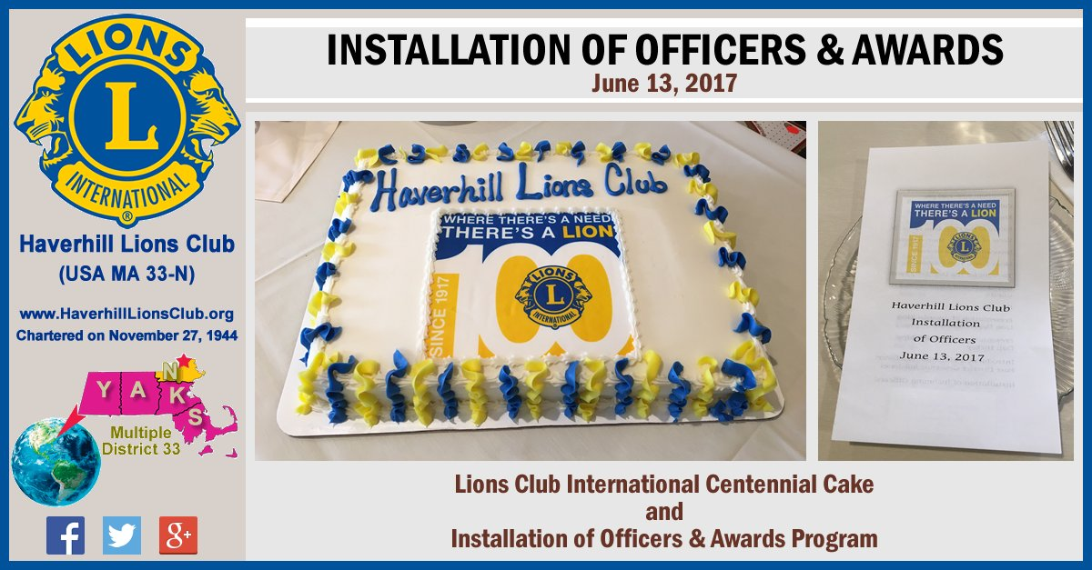 #Haverhill #MA #LionsClub Installation &amp; Awards Night held on 6/13/17. #LionsClubs #WeServe #LCI #LCIF<br>http://pic.twitter.com/2zzLP7t5uE