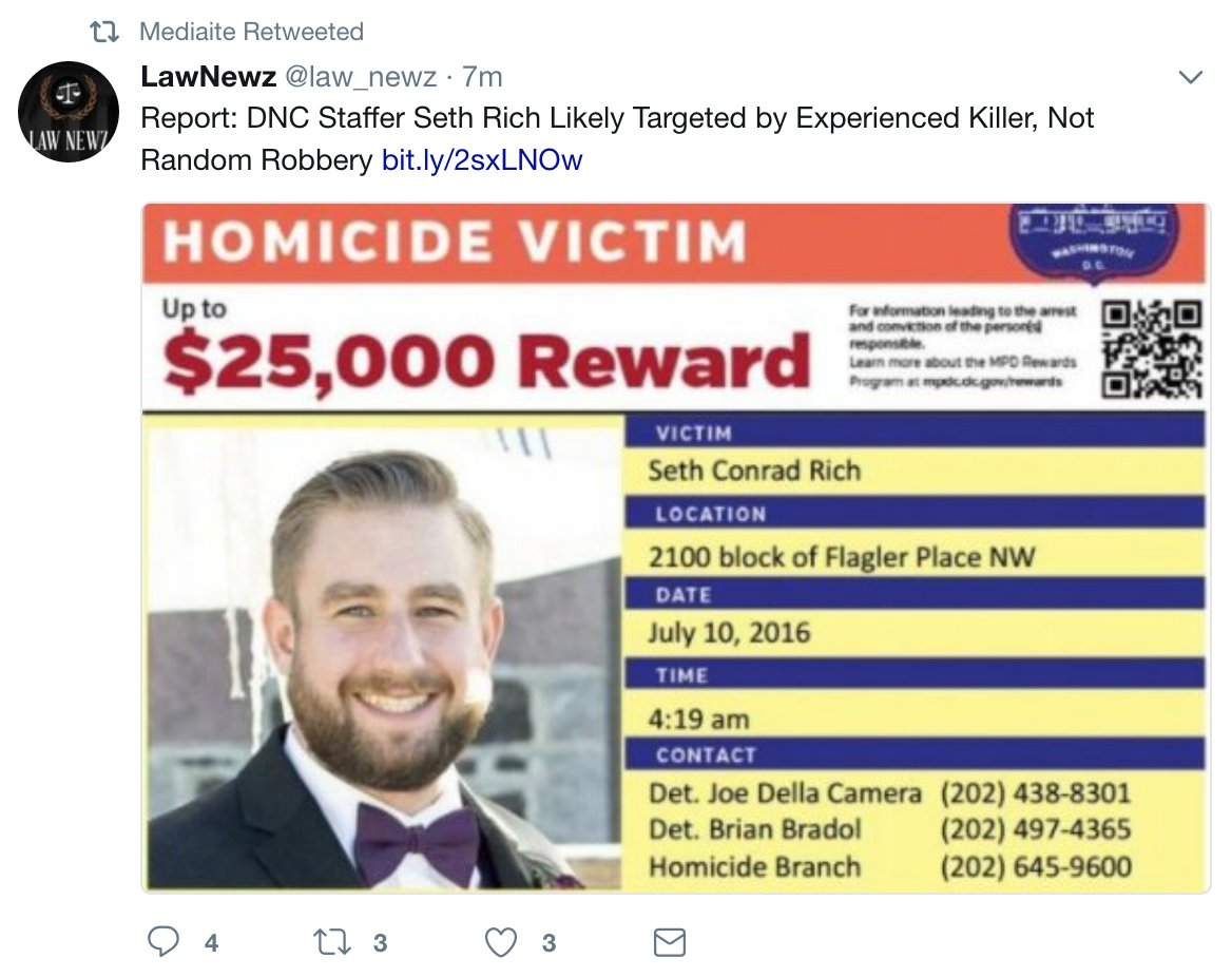 'The Profiling Project' is funded by a republican lobbyist who himself is a Seth Rich conspiracy theorist. here's what mediaite is pushing: