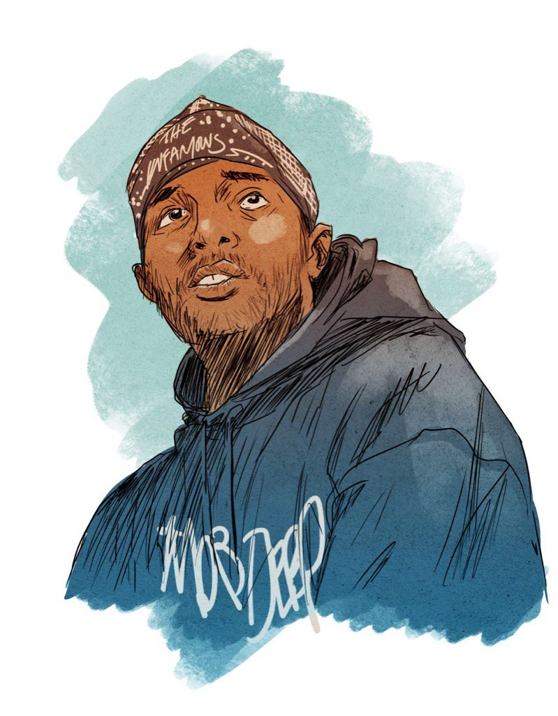 Heavy hearts at Marvel at the passing of our friend, Prodigy. His flow was a superpower.  Portrait by @sanfordgreene https://t.co/nmDoxYmI2a