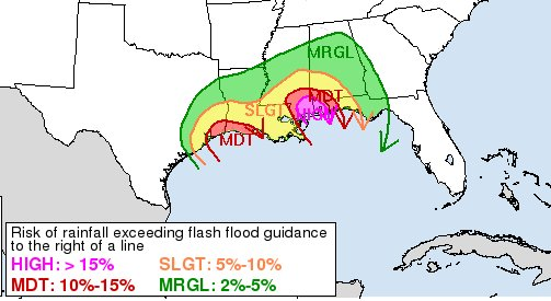 A rare HIGH risk issued for flash flooding tomorrow pm for parts of Gu...