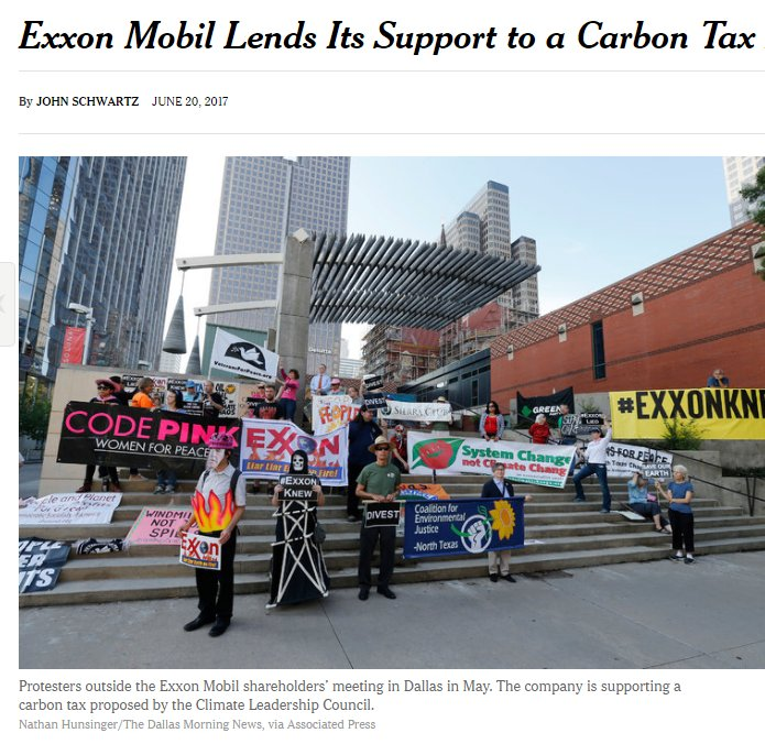 #ExxonMobil, BP, Shell, Total SA support $40 #CarbonTax proposed by @TheCLCouncil w/ @WRIClimate, @nature_org.   https://www. nytimes.com/2017/06/20/sci ence/exxon-carbon-tax.html &nbsp; … <br>http://pic.twitter.com/VCUUlcSteq