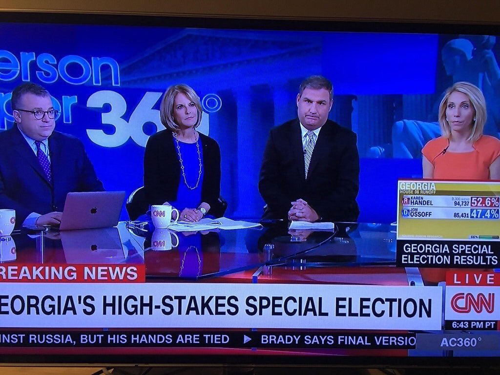 Priceless facial expressions at @CNN following Handel's win over Ossoff in #GeorgiaSixth