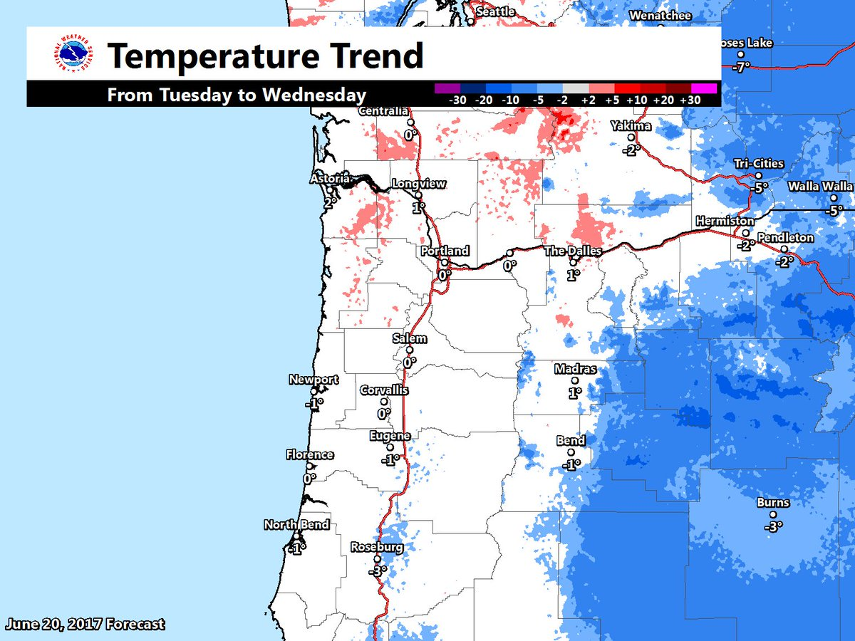 Temperatures change little from today to tomorrow across NW OR &amp; SW WA. Different story this weekend as temps warm ~10-15°F vs today #pdxtst <br>http://pic.twitter.com/JoSPSfXBEa