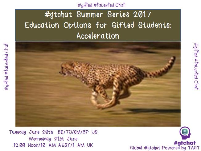 "T-10 till #gtchat - Today we'll be chatting about ""Acceleration for Gifted Students""  #gtchat https://t.co/GVNjt1Ah7y"