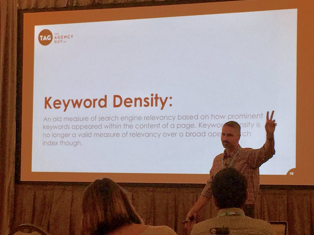 &quot;Keyword density... is crap.&quot;  @TheAgencyGuyInc CEO @JohnBertino tells it like it is, discussing #SEO #topicmodeling #SDSW #MKTGSD<br>http://pic.twitter.com/mUfDFMOFp7 &ndash; at The Pendry San Diego