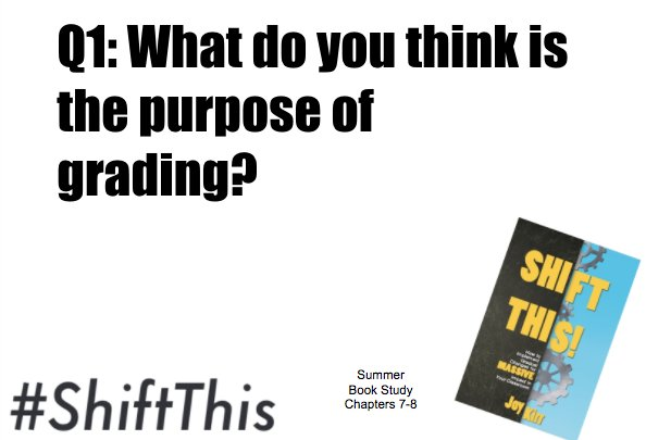 Q1: What do you think is the purpose of grading? #ShiftThis https://t.co/qcp5oZfj1z