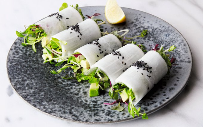 Summer Daikon Rolls With Avocado and Micro Greens [Vegan, Gluten-Free]