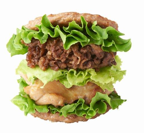【肉で肉挟む】モスバーガー「にくにくにくバーガー」発売   「モスライスバーガー焼肉」のライス部分をパティに変え、さらにテリヤキチキンとレタスを挟んだボリューミーな商品。27日まで。