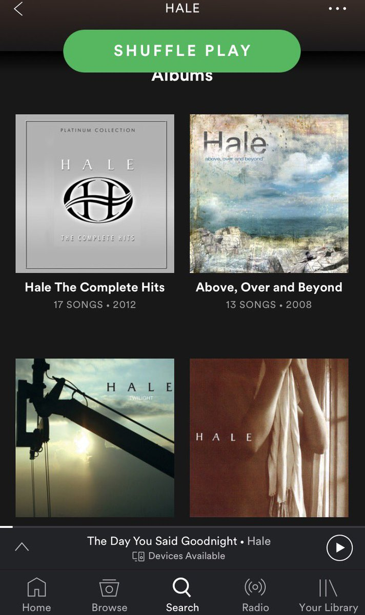 Finally! Better late than never. Hale discography now on Spotify. https://t.co/DNP35hOKay