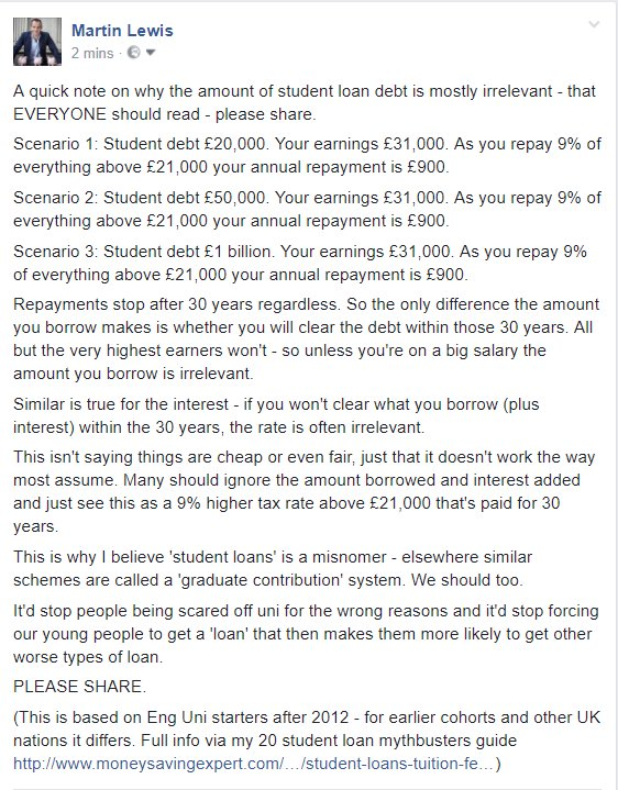 A quick note on why the amount of student loan debt is mostly irrelevant - that EVERYONE should read - please share...