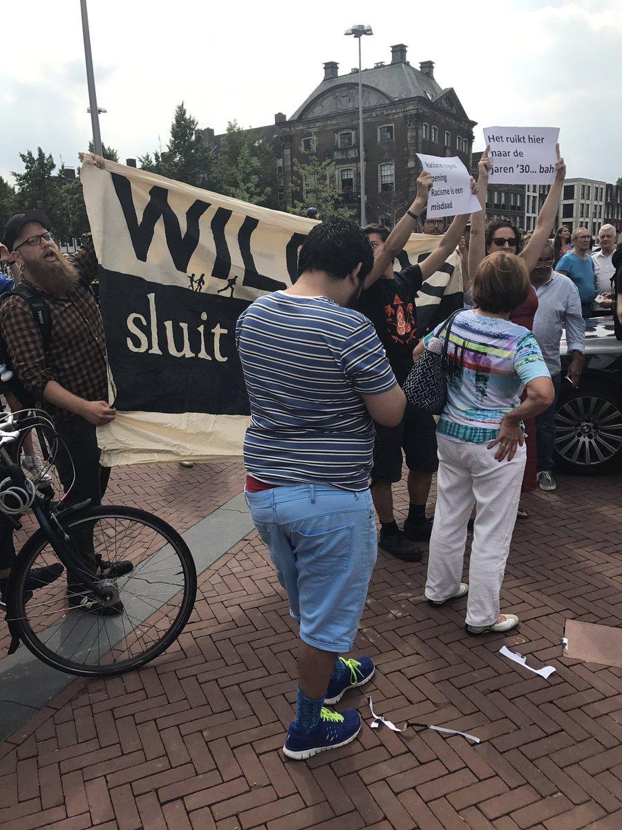 Anti-Wilders demonstrators in Arnhem today