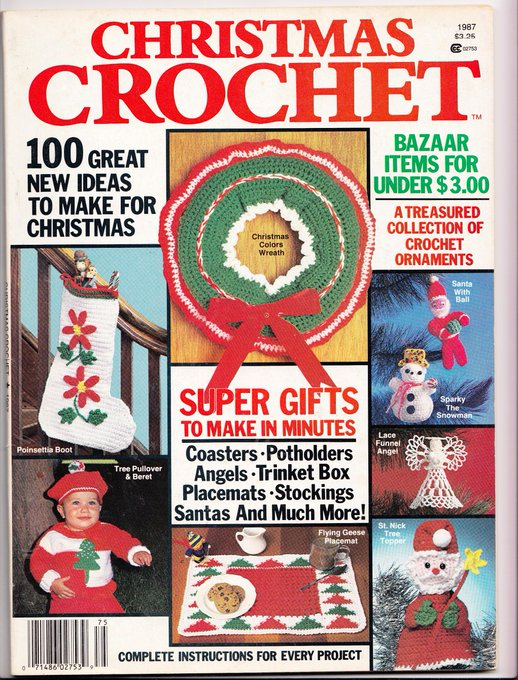 Christmas Crochet Magazine Vintage 1987 Instructions for Super Gifts to Make in Minutes Pot Holders, Hats, Stockings Santa Coasters Bazaar